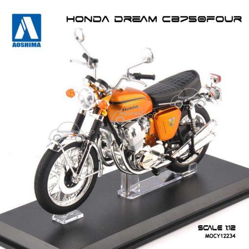 โมเดลมอเตอร์ไซด์ HONDA DREAM CB750 FOUR สีน้ำตาล Aoshima (1:12)