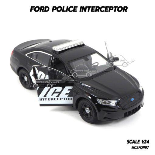 โมเดลรถตำรวจ FORD POLICE INTERCEPTOR สีดำ (1:24) เปิดประตูรถซ้ายขวาได้