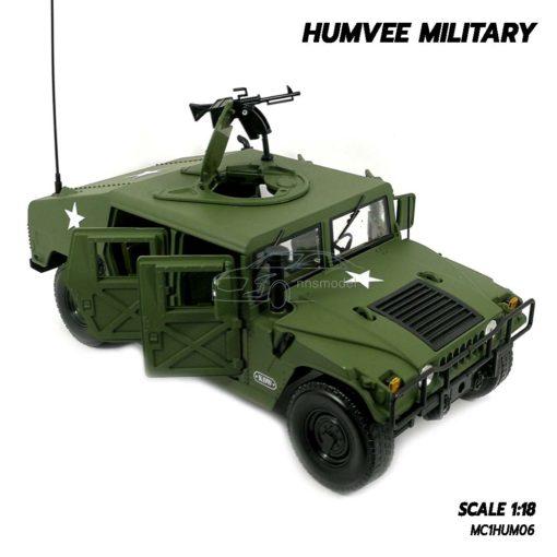 โมเดลรถทหาร HUMVEE MILITARY (Scale 1:18) จำลองสมจริง มีปืนกล