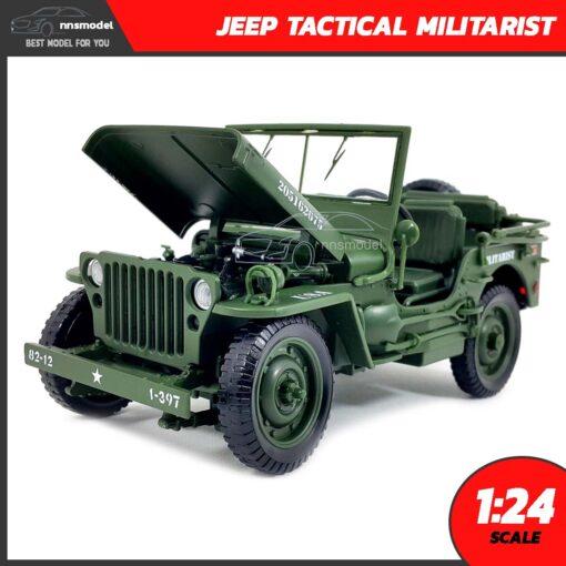 โมเดลรถทหาร JEEP TACTICAL MILITARIST (Scale 1:24) โมเดลรถเหล็ก เปิดฝากระโปรงหน้าได้