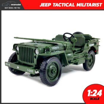 โมเดลรถทหาร JEEP TACTICAL MILITARIST (Scale 1:24) โมเดลรถเหล็ก พับกระจกหน้าได้