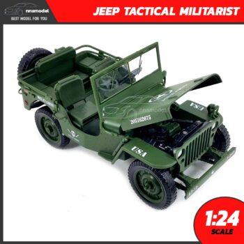 โมเดลรถทหาร JEEP TACTICAL MILITARIST (Scale 1:24) โมเดลรถเหล็ก เครื่องยนต์จำลองสมจริง