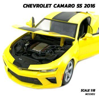 โมเดลรถ CHEVROLET CAMARO SS 2016 สีเหลือง (Scale 1:18) โมเดลรถเหล็ก เครื่องยนต์จำลองสมจริง