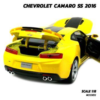 โมเดลรถ CHEVROLET CAMARO SS 2016 สีเหลือง (Scale 1:18) โมเดลรถเหล็ก เปิดฝากระโปรงท้ายรถได้