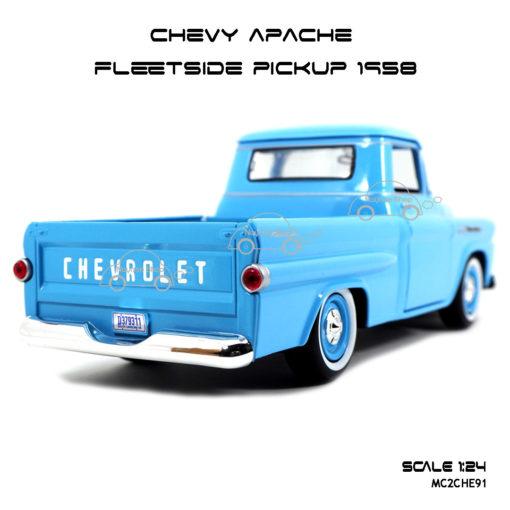 โมเดลรถ CHEVY APACHE FLEETSIDE PICKUP 1958 สีฟ้า ท้ายรถสวยงาม