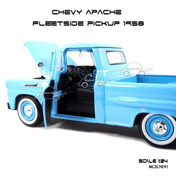 โมเดลรถ CHEVY APACHE FLEETSIDE PICKUP 1958 สีฟ้า รูปภายในรถ