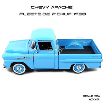 โมเดลรถ CHEVY APACHE FLEETSIDE PICKUP 1958 สีฟ้า พร้อมตั้งโชว์
