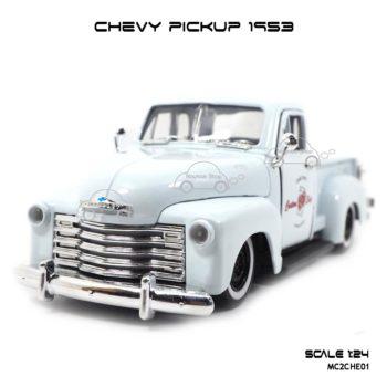 โมเดลรถ CHEVY PICKUP 1953 สีขาว (Scale 1:24)