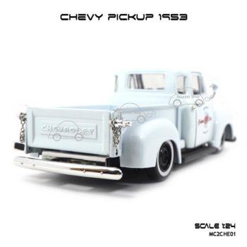 โมเดลรถ CHEVY PICKUP 1953 สีขาว (Scale 1:24) ท้ายรถ