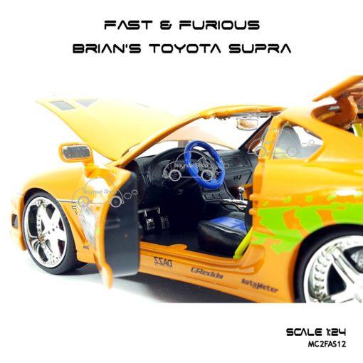 โมเดลรถ Fast Furious Brian TOYOTA SUPRA 1995 สีส้ม ภายในรถสวยๆ