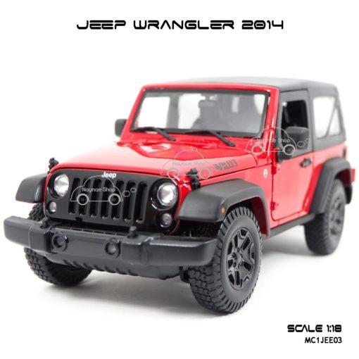 โมเดลรถ JEEP WRANGLER 2014 สีแดงดำ (Scale 1:18) โมเดลสำเร็จ