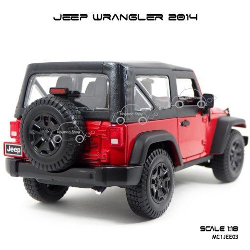 โมเดลรถ JEEP WRANGLER 2014 สีแดงดำ (Scale 1:18)