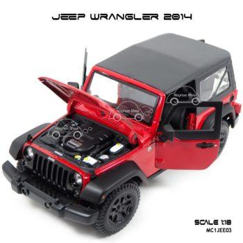 โมเดลรถ JEEP WRANGLER 2014 สีแดงดำ (Scale 1:18) เปิดได้ครบ