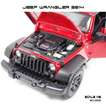 โมเดลรถ JEEP WRANGLER 2014 สีแดงดำ (Scale 1:18) รายละเอียดครบ