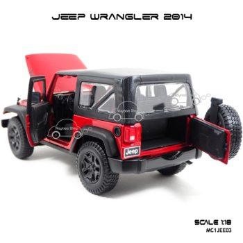 โมเดลรถ JEEP WRANGLER 2014 สีแดงดำ (Scale 1:18) เปิดประตูท้ายรถได้