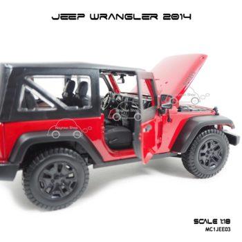 โมเดลรถ JEEP WRANGLER 2014 สีแดงดำ (Scale 1:18) ภายในสวยงาม
