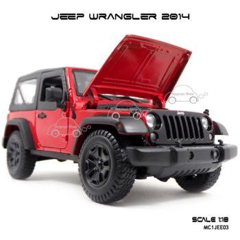 โมเดลรถ JEEP WRANGLER 2014 สีแดงดำ (Scale 1:18) เปิดฝากระโปรงหน้าได้