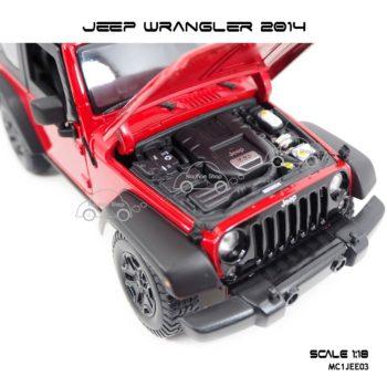โมเดลรถ JEEP WRANGLER 2014 สีแดงดำ (Scale 1:18) ห้องเครื่องเหมือนจริง