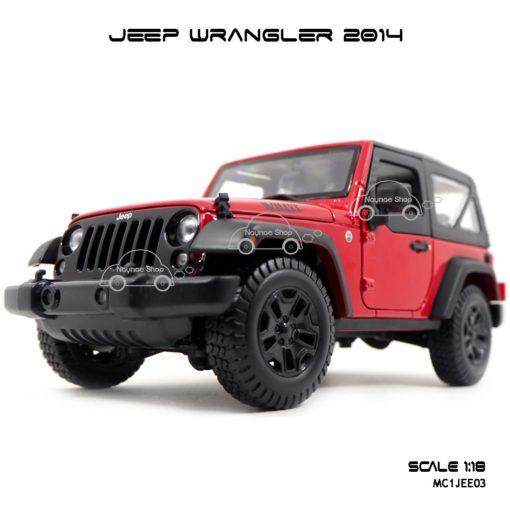 โมเดลรถ JEEP WRANGLER 2014 สีแดงดำ (Scale 1:18) โมเดลของแท้