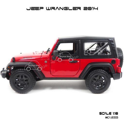 โมเดลรถ JEEP WRANGLER 2014 สีแดงดำ (Scale 1:18) โมเดลเหมือนรถจริง