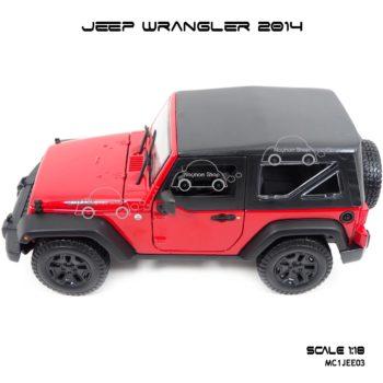 โมเดลรถ JEEP WRANGLER 2014 สีแดงดำ (Scale 1:18) โมเดลจำลองเหมือนจริง