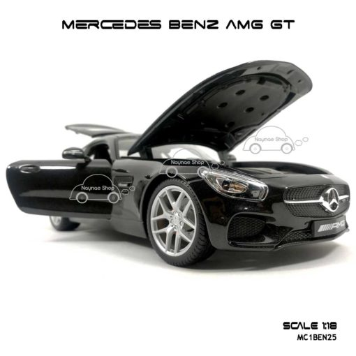 โมเดลรถ MERCEDES BENZ AMG GT สีดำ (Scale 1:18) หน้ารถสวยๆ