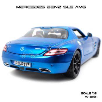 โมเดลรถ MERCEDES BENZ SLS AMG สีน้ำเงิน (1:18) ท้ายงามๆ