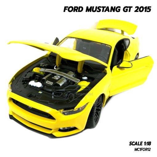 โมเดลฟอร์ด FORD MUSTANG GT 2015 มัสแตง สีเหลือง (Scale 1:18) โมเดลรถของสะสม เปิดฝากระโปรงหน้าได้