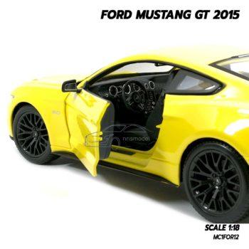โมเดลฟอร์ด FORD MUSTANG GT 2015 มัสแตง สีเหลือง (Scale 1:18) โมเดลรถของสะสม ภายในรถเหมือนจริง