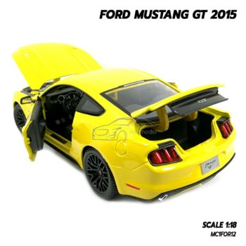 โมเดลฟอร์ด FORD MUSTANG GT 2015 มัสแตง สีเหลือง (Scale 1:18) โมเดลรถของสะสม เปิดฝากระโปรงท้ายได้
