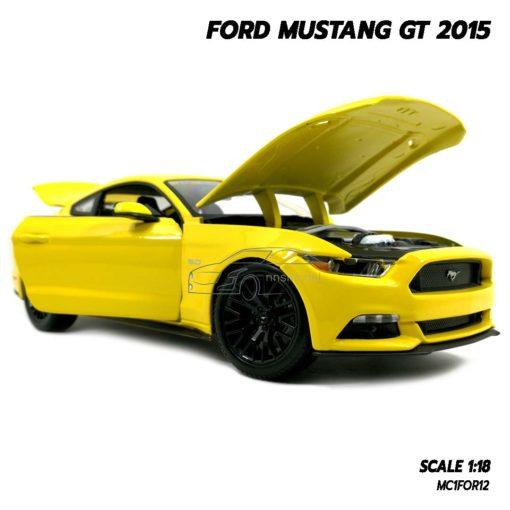 โมเดลฟอร์ด FORD MUSTANG GT 2015 มัสแตง สีเหลือง (Scale 1:18) โมเดลรถของสะสม เครื่องยนต์เหมือนจริง