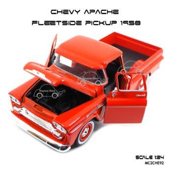 โมเดล รถกระบะ CHEVY APACHE FLEETSIDE PICKUP 1958 เปิดได้ครบ