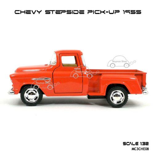 รถโมเดล CHEVY STEPSIDE PICK UP 1955 สีส้ม (1:32) มีลานดึงปล่อยรถวิ่งได้