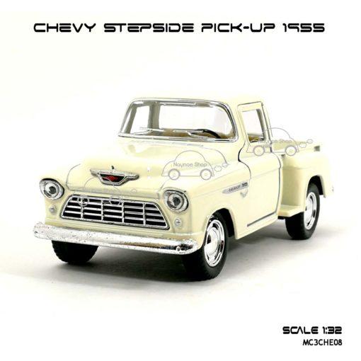 รถโมเดล CHEVY STEPSIDE PICK UP 1955 สีขาวครีม (1:32) โมเดลสำเร็จ