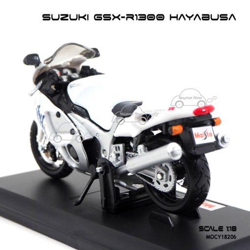 โมเดลบิ๊กไบค์ SUZUKI GSX-R1300 HAYABUSA (1:18) สีขาว พร้อมฐานวาง