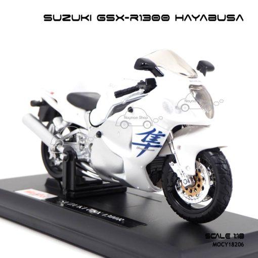 โมเดลบิ๊กไบค์ SUZUKI GSX-R1300 HAYABUSA (1:18) สีขาว โมเดลสำเร็จ