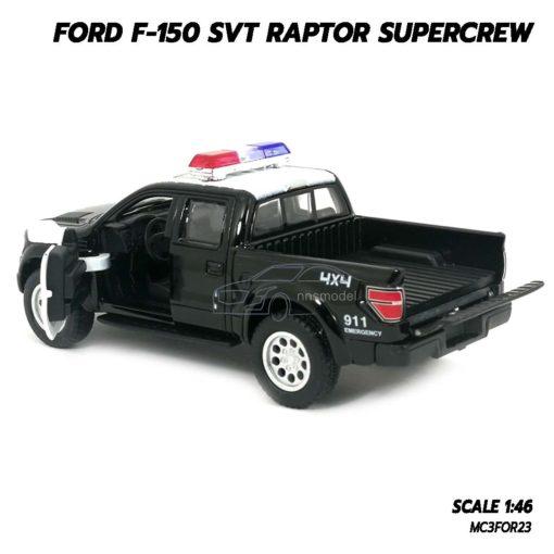 โมเดลรถตำรวจ FORD RAPTOR F150 (Scale 1:46) โมเดลรถกระบะ ประกอบสำเร็จ เปิดกระบะท้ายรถได้