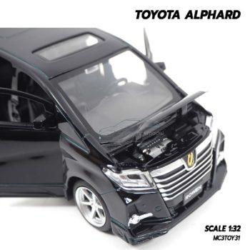โมเดลรถตู้ TOYOTA ALPHARD สีดำ (1:32) เปิดฝากระโปรงหน้าได้ เครื่องยนต์เหมือนจริง
