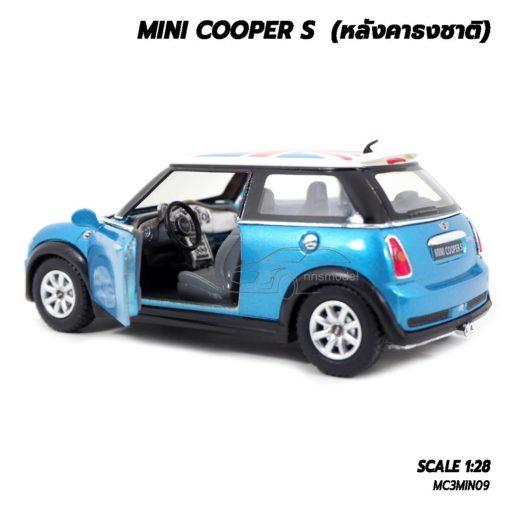 โมเดลรถมินิคูเปอร์ หลังคาธงชาติ สีฟ้า (1:28) ภายในรถจำลองเหมือนจริง