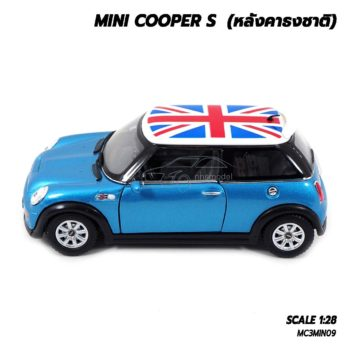 โมเดลรถมินิคูเปอร์ หลังคาธงชาติ สีฟ้า (1:28) มีลานดึงปล่อยรถวิ่งได้