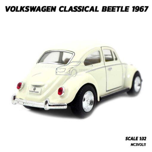 โมเดลรถเต่า Volkswagen Beetle 1967 สีขาวครีม (Scale 1:32) รถเหล็กจำลองเหมือนจริง