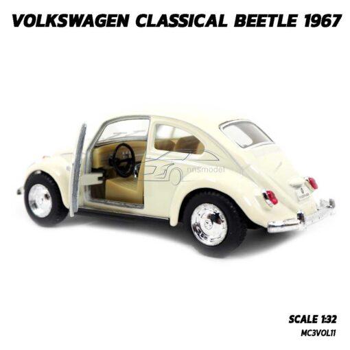 โมเดลรถเต่า Volkswagen Beetle 1967 สีขาวครีม (Scale 1:32) รถเหล็กจำลอง เปิดประตูรถซ้ายขวาได้