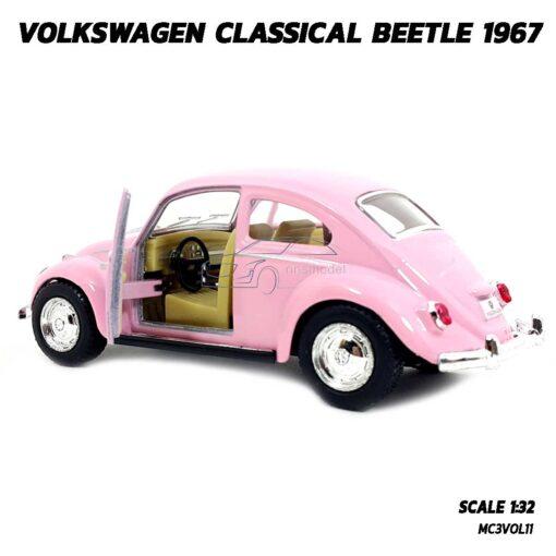 โมเดลรถเต่า Volkswagen Beetle 1967 สีชมพู (Scale 1:32) โมเดลคลาสสิค ภายในรถจำลองสมจริง