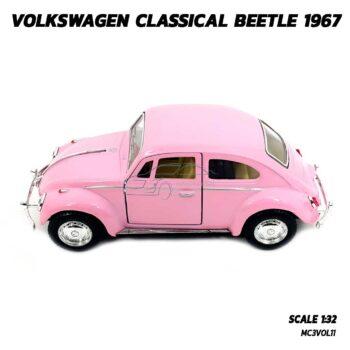 โมเดลรถเต่า Volkswagen Beetle 1967 สีชมพู (Scale 1:32) โมเดลคลาสสิค มีลานวิ่งได้