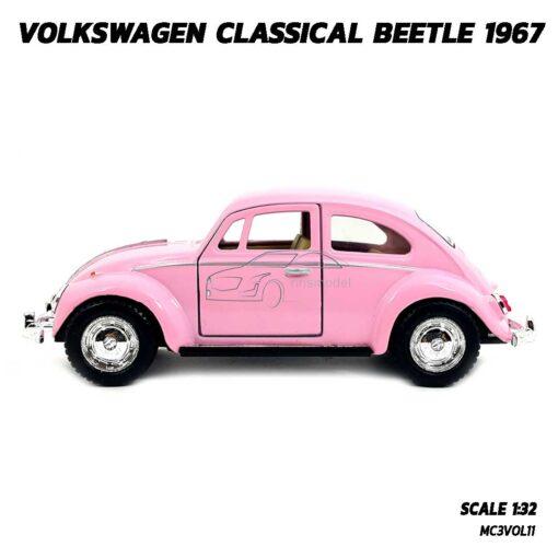 โมเดลรถเต่า Volkswagen Beetle 1967 สีชมพู (Scale 1:32) โมเดลคลาสสิค มีลานวิ่งได้ พร้อมตั้งโชว์