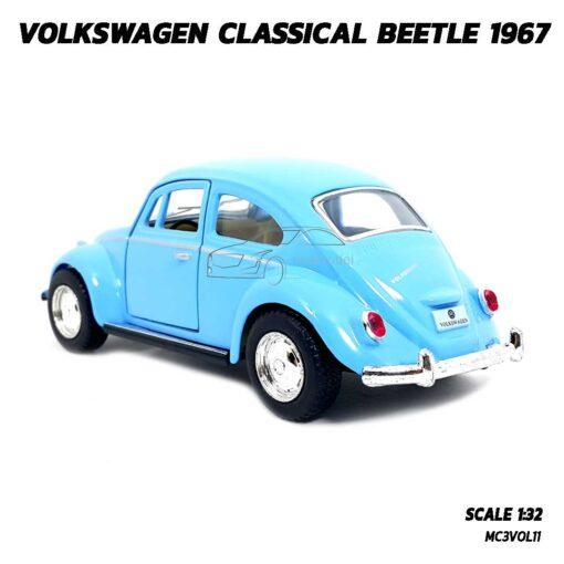 โมเดลรถเต่า Volkswagen Beetle 1967 สีฟ้า (Scale 1:32) โมเดลคลาสสิค ประกอบสำเร็จ พร้อมตั้งโชว์