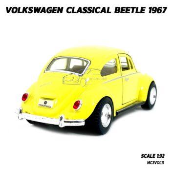 โมเดลรถเต่า Volkswagen Beetle 1967 สีเหลือง (Scale 1:32) โมเดลคลาสสิค มีลานวิ่งได้