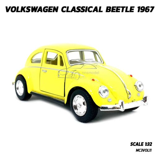 โมเดลรถเต่า Volkswagen Beetle 1967 สีเหลือง (Scale 1:32) โมเดลคลาสสิค มีลานวิ่งได้ พร้อมตั้งโชว์