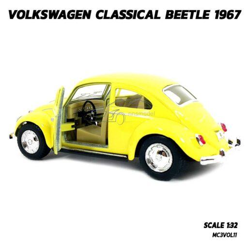 โมเดลรถเต่า Volkswagen Beetle 1967 สีเหลือง (Scale 1:32) โมเดลคลาสสิค รถเหล็ก ของสะสม