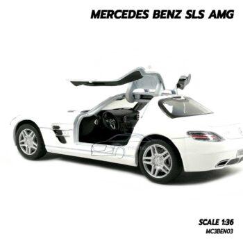 โมเดลรถเบนซ์ Mercedes Benz SLS AMG สีขาว (Scale 1:36) โมเดลรถเหล็ก ประกอบสำเร็จ ภายในรถจำลองเหมือนจริง